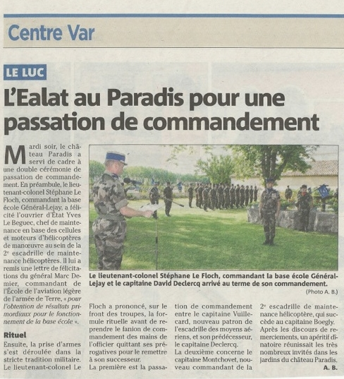 EALAT Passation de commandement au Paradis
