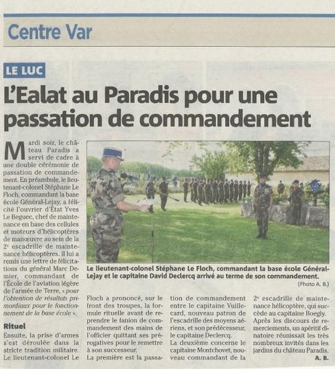 EALAT Passation de commandement au Paradis